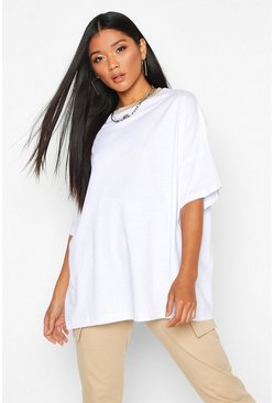 Womens White Oversized Ringer T-Shirt
