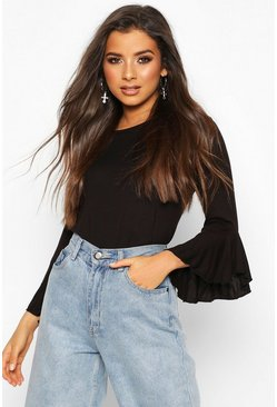 Womens Black Ruffle Sleeve T-shirt