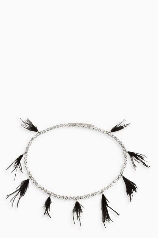 Diamante Chain Belt With Feather Trim