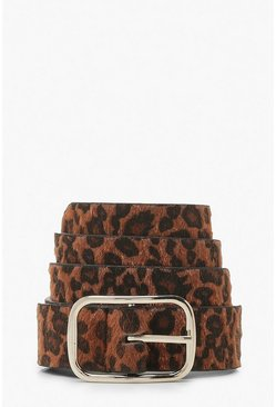 Brown Leopard Print Buckle Belt