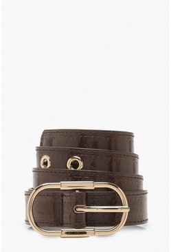 Chocolate Skinny Patent Eyelet Buckle Belt