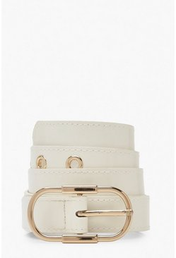 Womens White Skinny Patent Eyelet Buckle Belt