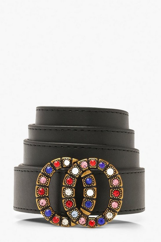 Coloured Diamante Double Ring Buckle Belt