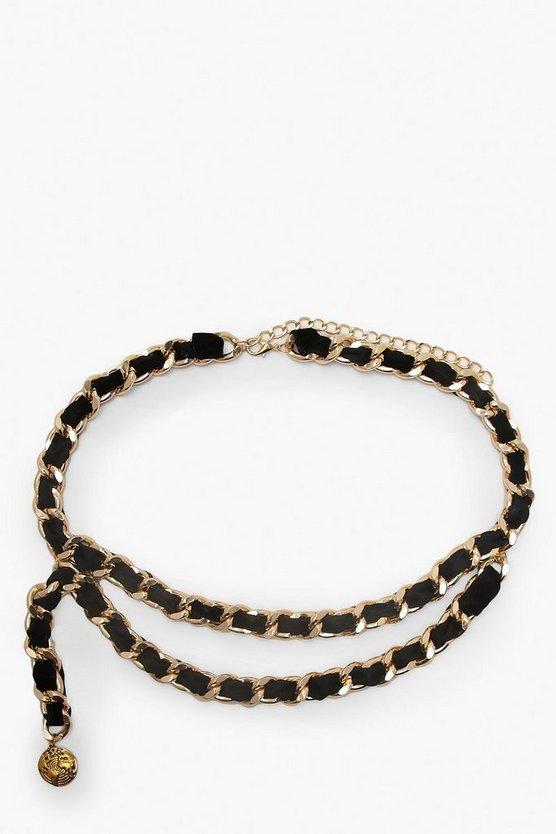 Suede & Chain Double Layer Waist Belt