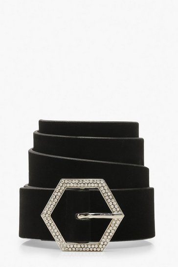 Womens Black Hexagon Diamante Suedette Buckle Belt
