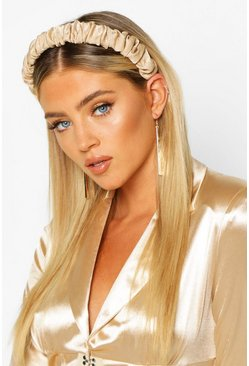Champagne Satin Ruched Headband