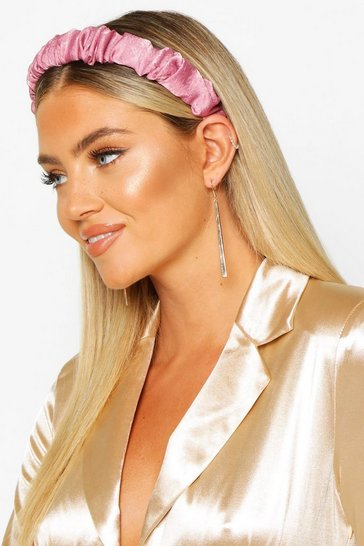 Pink Satin Ruched Headband
