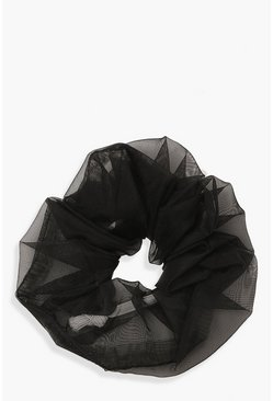 Womens Black Organza Scrunchies