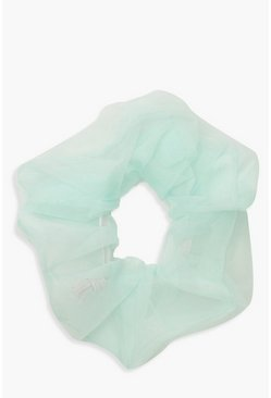 Womens Blue Organza Scrunchies