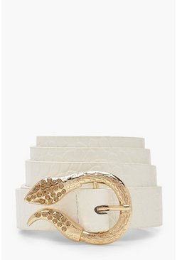 Womens White Snake Buckle Croc Belt