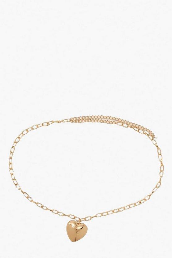 Solid Heart Chain Waist Belt