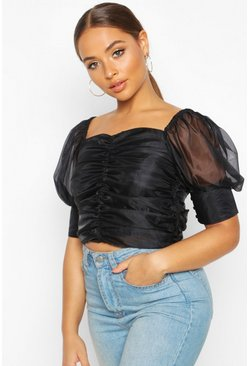 Womens Black Satin Ruched Organza Puff Sleeve Crop Top