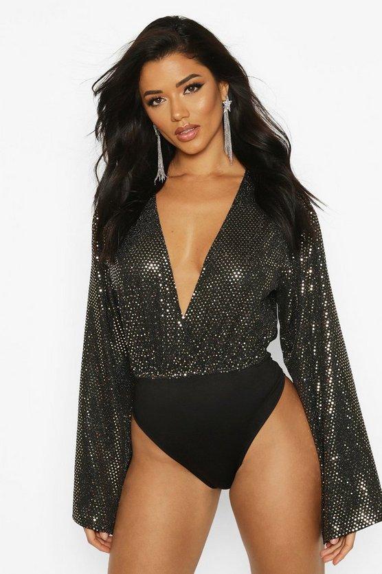 Sequin Plunge Bodysuit