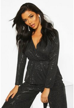 Womens Black Sequin Wrap Peplum Top