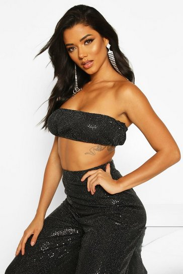 Womens Black Mini Sequin Bandeau