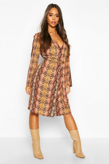 Womens Orange Snake Print Button Front Midi