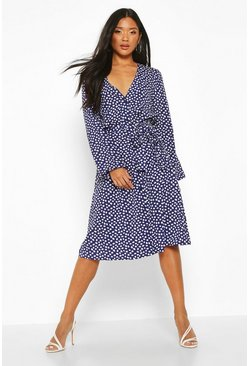 Womens Navy Spot Button Front Belted Maxi Dress