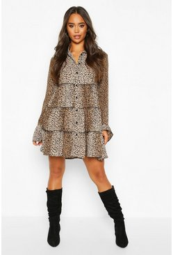 Womens Leopard Print Smock Dress