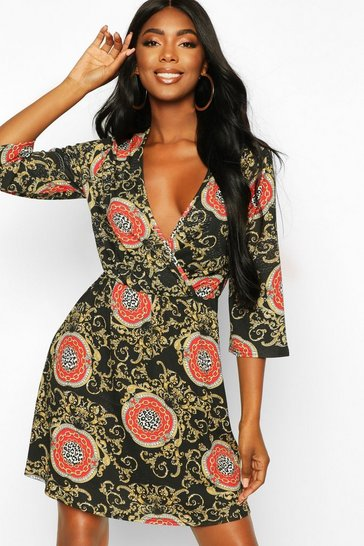 Womens Black Chain Print Wrap Skater Dress
