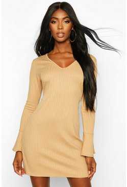 Womens Gold Jumbo Rib V Neck Frill Sleeve Shift Dress