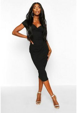 Womens Black Jumbo Rib Bardot Wrap Midi Dress