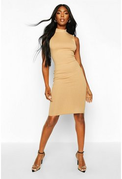Womens Gold Jumbo Rib High Neck Midi Dress