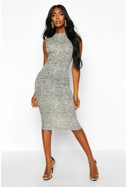 Womens White Snow Leopard High Neck Sleeveless Midi Dress