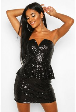 Womens Black Sequin Peplum Mini Dress