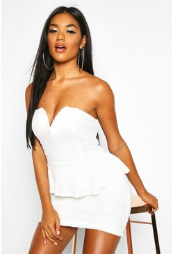 Womens White Sequin Peplum Mini Dress
