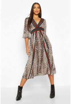 Womens Leopard Striped Midi Dress