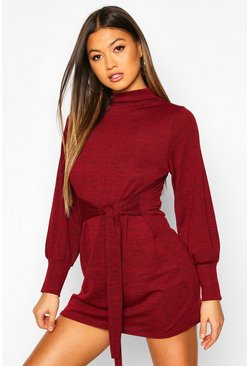 Dam Berry Brushed Belted Shift Dress