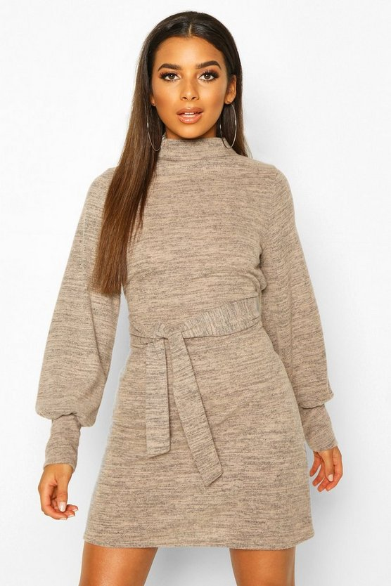 Stone Brushed Belted Shift Dress