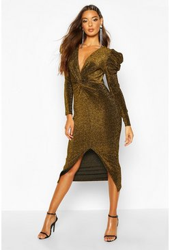 Womens Gold Puff Sleeve Knot Front Midi Dress