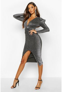 Silver Puff Sleeve Knot Front Midi Dress