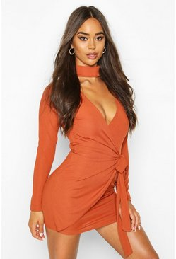 Rust Tie Side Rib Mini Dress