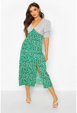 Dam Green Mixed Animal Print Shirred Cuff Midi Dress