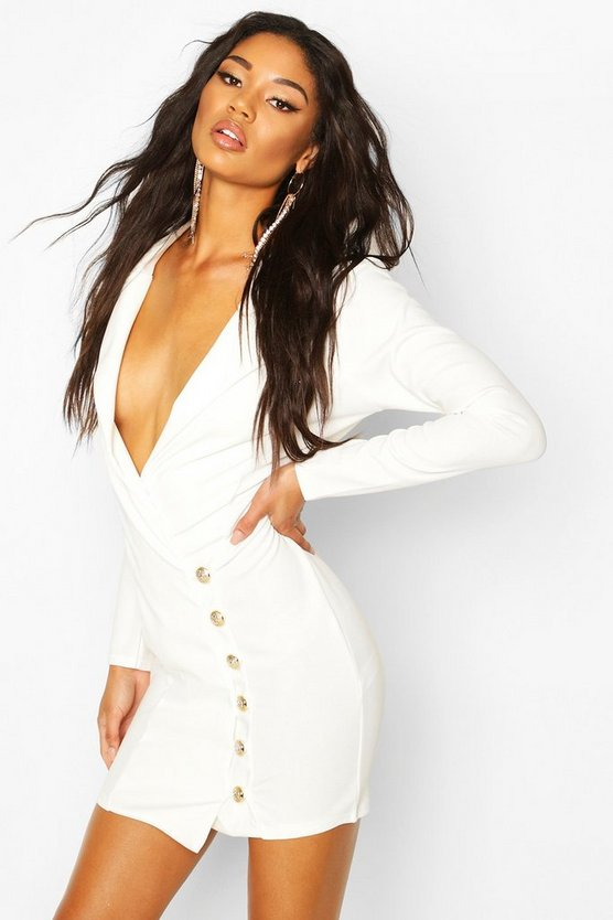 Button Detail Blazer Dress