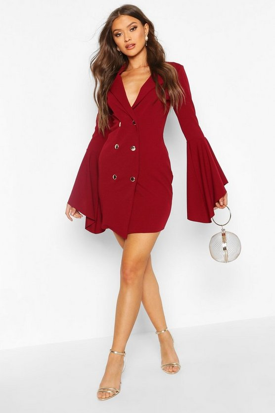 Berry Flared Sleeve Blazer Dress
