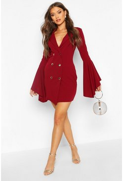 Womens Berry Flared Sleeve Blazer Dress