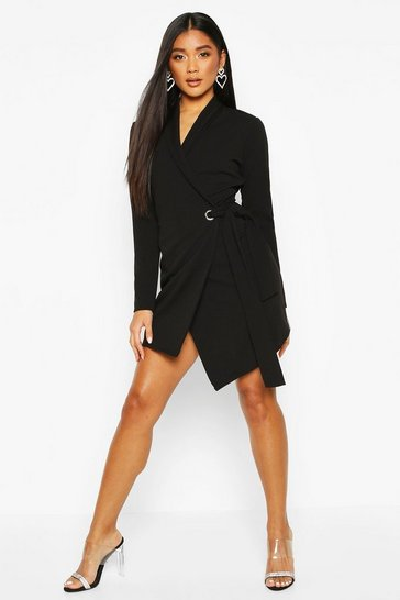 Womens Black Belted Waist Blazer Dress