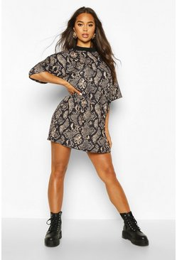 Womens Tan Snake Print T-Shirt Dress