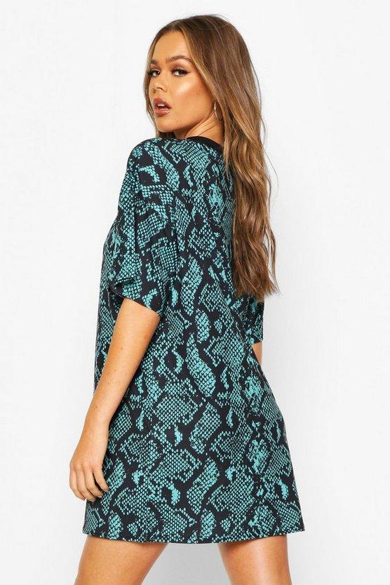 Snake Print T-Shirt Dress