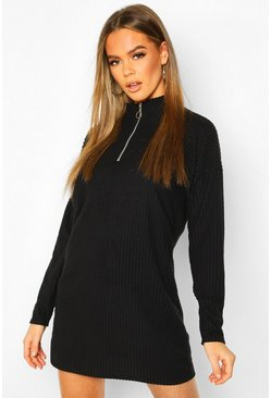Womens Black Brushed Rib Zip Sweat Dress