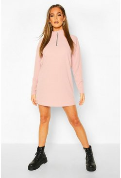 Womens Blush Brushed Rib Zip Sweat Dress