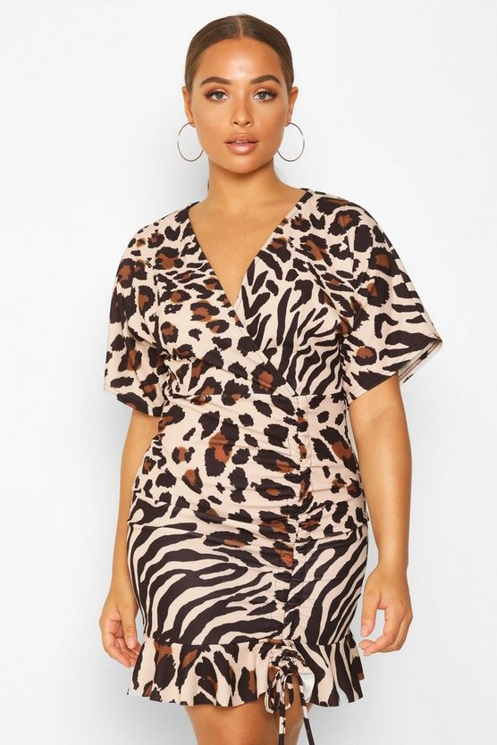 Gerafftes Minikleid Mit Animal Print by Boohoo