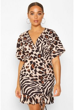 Stone Animal Print Ruched Mini Dress