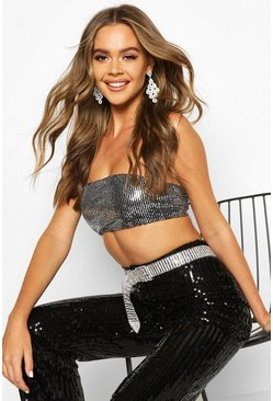 Womens Silver Sequin Bandeau