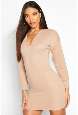 Womens Sand Rib V Neck Jumper Dress