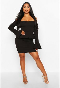 Black Off The Shoulder Peplum Mini Dress