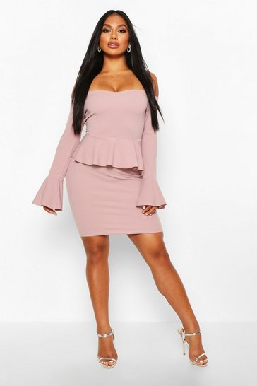 Womens Mink Off The Shoulder Peplum Mini Dress